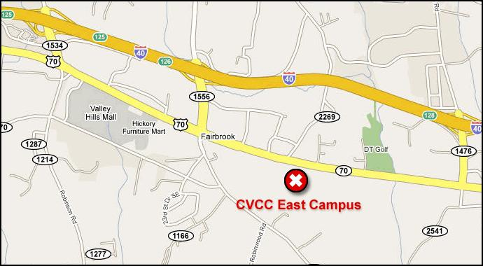 CVCC East Campus Map with a white x in a red circle indicating the location of the east campus on the map