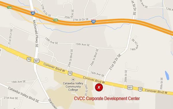 Google map with the Corporate Development Center location marked with a red circle and a white 'x'