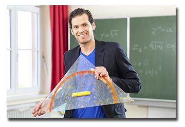 Man holding large teaching protractor