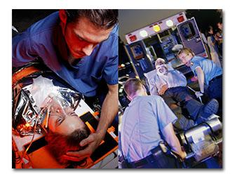 2 images of EMTs stabilizing a patient and loading a patient into an ambulance
