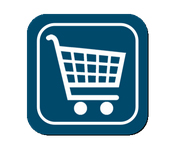white Shop Cart in a dark blue square