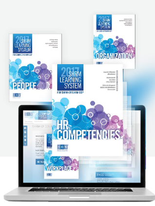 2017 SHRM Learning System HR Competencies workbook covers in a collage