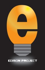 Edison Project with lower-case e shaped like a lightbuld with light bulb screw base
