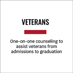 Veterans One-on-one counseling to assist veterans from admissions to graduation