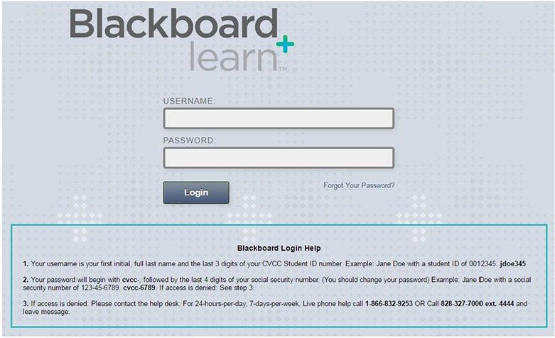 blackboard login page demo